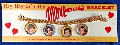 The Monkees 1967 Picture Charm Bracelet Raybert Productions on Card