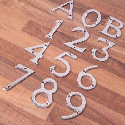 "CHOOSE FROM 0-9 SILVER CHROME 3"" Number/Letter A/B Plaque/Plate Porch/Front Door"
