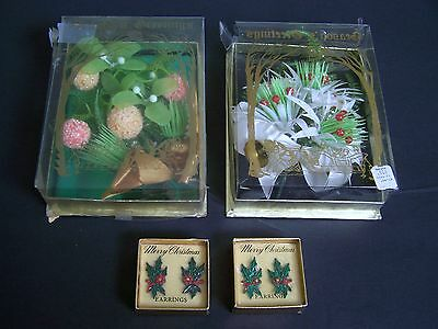 Vintage LOT Dime Store CHRISTMAS CORSAGES & CLIP-ON EARRINGS Frosted Ice Bulbs