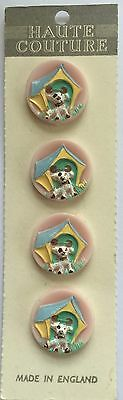 Vintage Novelty buttons - 1950's 4 Soft Pink Hand painted puppy dog buttons