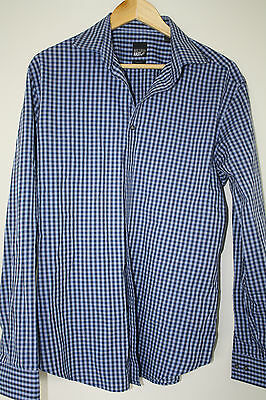 William Rast Men's Slim Fit Button Up Blue Dress Shirt Size L, 16-16.5, 34/35