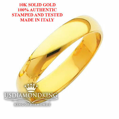 Men's Women's 3Mm-4Mm 10K Solid Yellow Gold Plain Wedding Band Ring Size 5-12