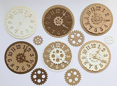 New - Steampunk Clock Die Cuts - Recycled Neutrals (pack Of 6)