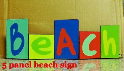 """5 Panel Beach Sign Table Top """"beach"""" Decor Adjustable 12"""" X 4"""" Colorful Rustic"""