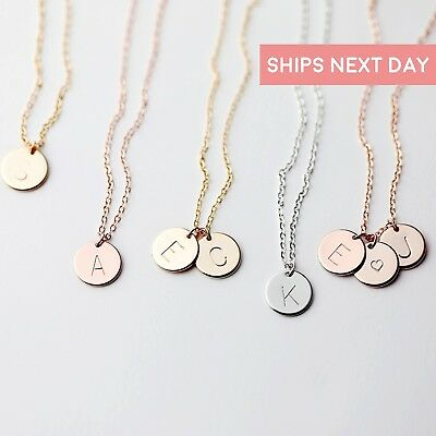 Gift for Her Coin Initial Necklace Best Friend Mothers Daughters Sisters Gift