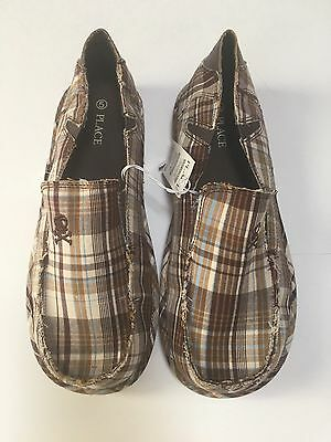 The Childrens Place Skull Plaid Brown Blue Canvas Slip On Loafer Shoe Size 5 NWT