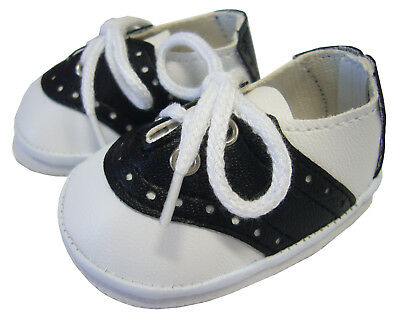 Black Saddle Shoes made for Bitty Baby Boy + Twins Doll Clothes Accessory