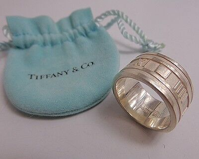 Tiffany & Co. 925 ATLAS Roman numeral 12mm Wide Band Ring Size 9