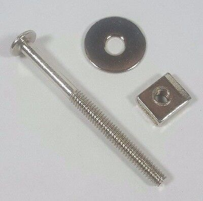 "NEW Antique 2"" Replacement Furniture Glass Knob Handle Bolts Steel w/ Nickel"