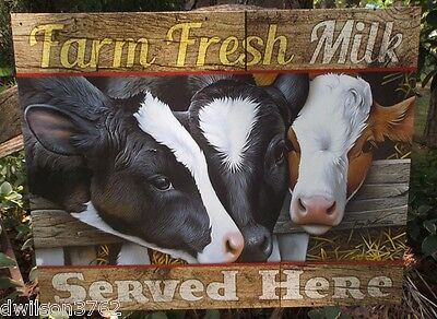 Farm Fresh Milk Cow Country Kitchen Vintage Wall Picture Decor Tin Ad Sign