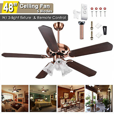 """48"""" 5 Blades Ceiling Fan with Light Kit Downrod Copper Reversible Remote Control"""