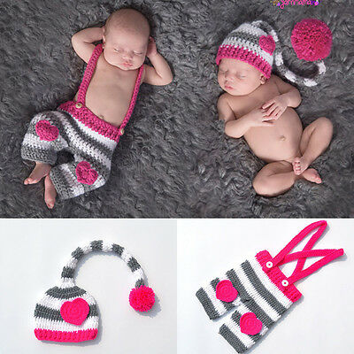 Kid Girl Boy Crochet Knit Ball Long Tail Hat Photo Photography Prop Outfits Love