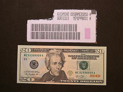 2013 $20 Us Dollar Bank Note Me 92998999 A Near Solid Note Cu United States