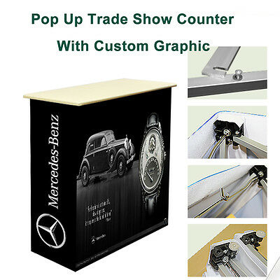 Portable tension fabric pop up trade show display counter with custom graphic