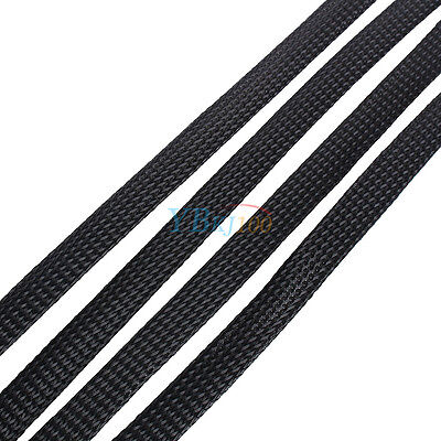 Black 4/6/8/10mm Expandable Braided PET Sleeving Cable High Densely