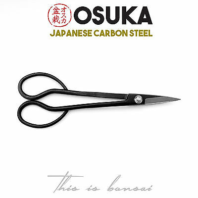 OSUKA Bonsai Trimming Scissors 180mm – Japanese Carbon Steel (Black)