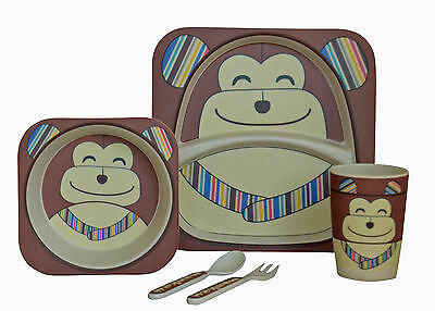 Navigate Child 5 Pce Eco Bamboo Dinner Set Chimp Monkey Plate Bowl Cup Cutlery