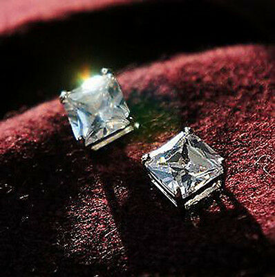 Men's 8mm Clear Czech Crystal Magnetic Stone Square Earrings - Pair
