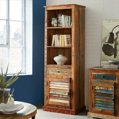 Looe 100% Reclaimed Wood Living Room Furniture Bookcase with 1 Drawer and 1 Door