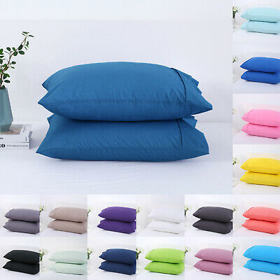 17Color Twin Pack Standard Pillow Cover Bedding Pillowcases Protector Hotel Home
