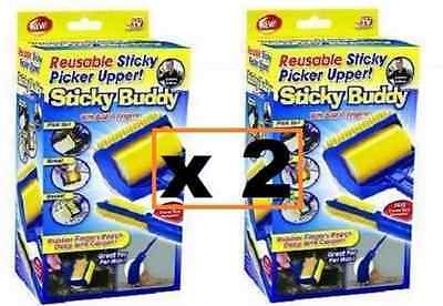 2Pcs Sticky Buddy Reusable Picker Cleaner Lint Roller Pets Hair Remover Brush