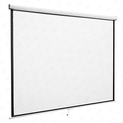 "120"" Portable Manual Projector Screen Pull Down Screen Home Movie Theater 84:84"