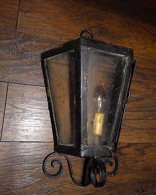 14874 Antique Cast Iron Porch Sconce Wall Light / Lamp Fixture w Glass