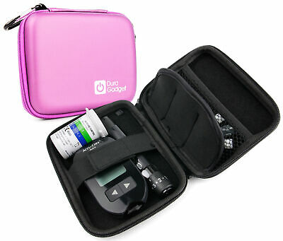 Pink Hard EVA Shell Travel Case w/ Clip for Insulin Diabetes Medical Supplies