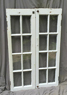 Pr Antique Casement Windows Pantry Cupboard Door Shabby Old Chic Vtg 1147-16