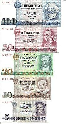 GERMANY-DDR Set 5 PCS  5+10+20+50+100 Mark 1971-1975  P 27- to P 31 . 4RW 25JUL
