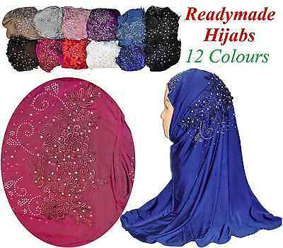 Ladies Lace Embroidery Readymade Hijab Head scarf Childrens Kids Muslim Womens