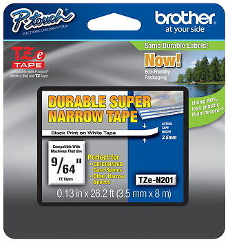 """Brother TZeN201 9/64"""" (3.5mm) Super Narrow p-touch tape for PT9700, PT-9700PC"""