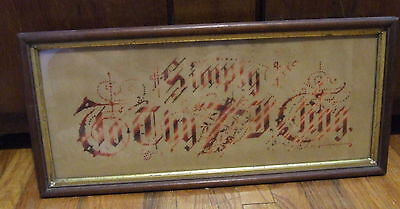 Antique Victorian  Punch Paper Sampler Simply To Thy Cross I Cling (WHSE )