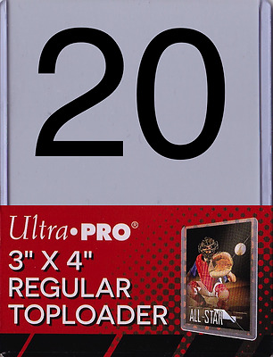 "20 Ultra Pro Toploaders Clear 3"" x 4"" Regular Trading Card Protection Top Loader"