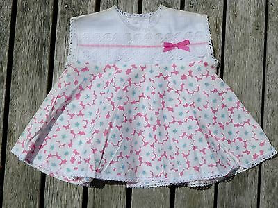 Vintage retro true 60s 0 unused baby newborn dress cotton pink NOS