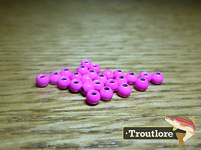 "25 PIECES TUNGSTEN BEAD HEADS PINK 3/32"" 2.4mm - NEW FLY TYING MATERIALS"
