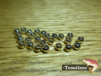 "25 PIECES TUNGSTEN BEAD HEADS GOLD 3/32"" 2.4mm - NEW FLY TYING MATERIALS"