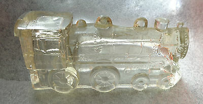 old clear pressed glass train candy container