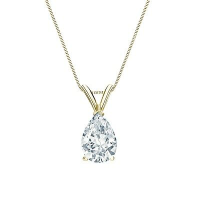 "2.75 Ct Pear Brilliant  Solid 14k Yellow Gold Solitaire Pendant 18"" Necklace"