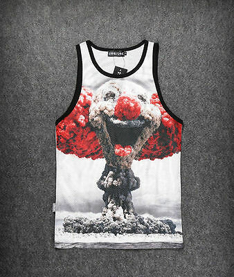 Mens 3D Print Explosion Clown Summer Tank Tops Tee Sleeveless Shirt Sports Vest