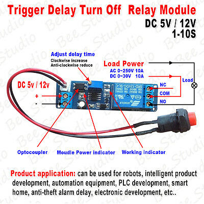 Adjustable Delay Turn OFF Switch Timing Timer Board Time Relay Module 1~10s