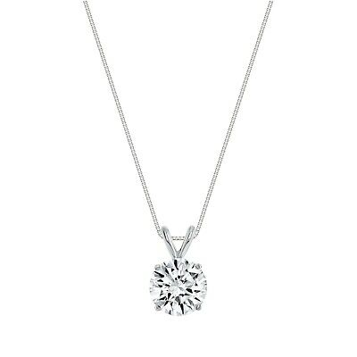 """1.25 Ct Round Cut Blue Solid 14k White Gold Solitaire Pendant 18"""" Necklace"""