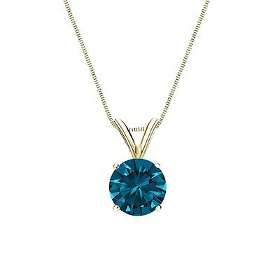 """2.50 Ct Round Cut Blue Solid 14k Yellow Gold Solitaire Pendant 18"""" Necklace"""
