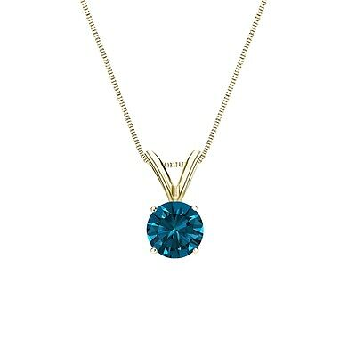 "1.50 Ct Round Cut Blue Solid 14k Yellow Gold Solitaire Pendant 18"" Necklace"