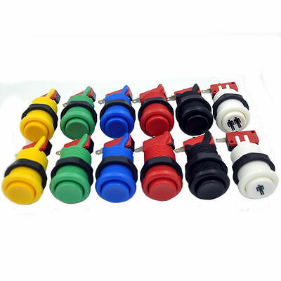 12x New 30mm Happ Type Push Buttons + Micro Switch For Arcade Kit Parts PC Games
