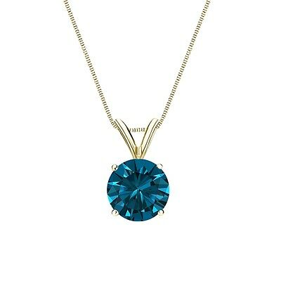 """2.75 Ct Round Cut Blue Solid 14k Yellow Gold Solitaire Pendant 18"""" Necklace"""