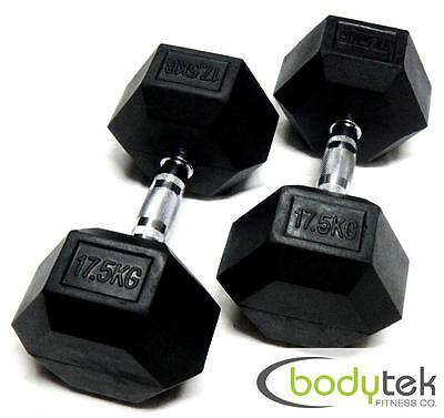 2 x 17.5Kg Hex Dumbbells Body Building Exercise Gym Bar Training Weights Fitness