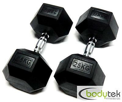 2 x 25Kg Hex Dumbbells Body Building Exercise Gym Bar Training Weights Fitness