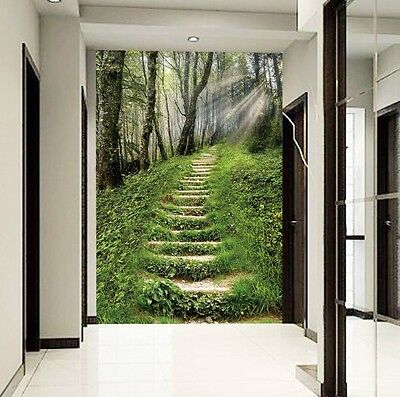 3D Forest Lawn Ladder Wall Paper Wall Print Decal Wall Deco Indoor wall Mural