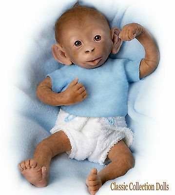 "Ashton Drake ""BOBO""- LIFELIKE 16"" BABY MONKEY DOLL- WITH NAPPY & PACI - NEW"